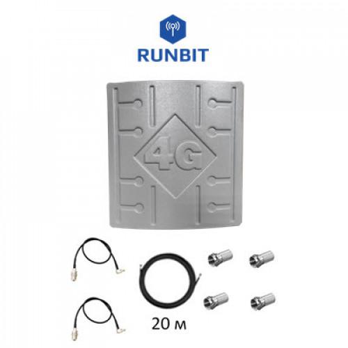Комплект 3G/4G MIMO LTE антенна RunBit 2x18 дБ для усиления мобильного интернета