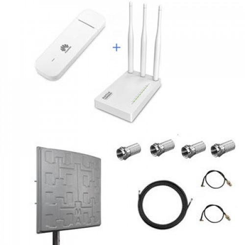 Комплект для 4G LTE/ 3G интернета (роутер + модем + антенна + кабель + переходники)