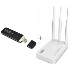 Комплект WiFi роутер Netis MW5230 + 4G / 3G модем ZTE MF825